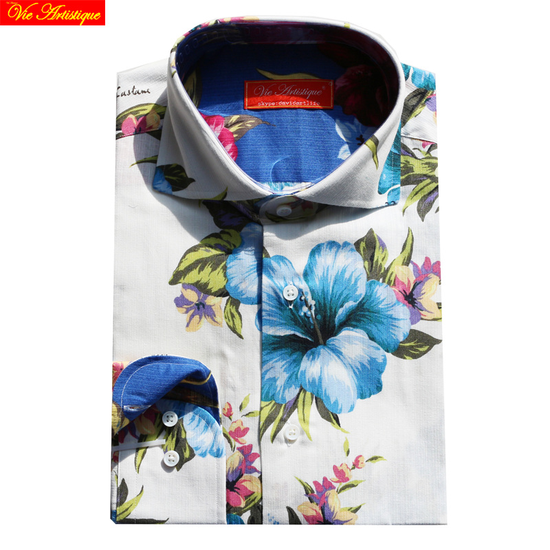 Custom Tailor Made Men's Bespoke Shirts Business Formal Wedding Ware Bespoke Blouse Cotton Floral White Printed Large Flower