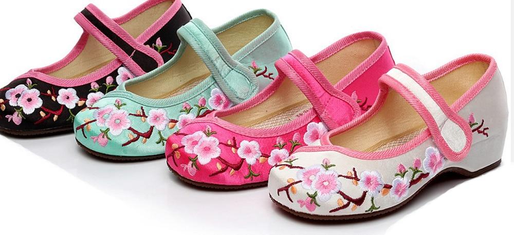duże dziewczęce buty mary jane mały kwiat haft biały zielony - Obuwie dziecięce - Zdjęcie 6