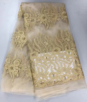 Free Shipping 5yards Pc Elegant African Mesh Lace Fabric Cream And Gold Mesh French Net Lace