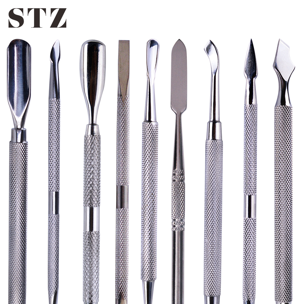 STZ 1pcs Stainless Steel 9 Style Nail Art Pusher Remover Finger Dead Skin Cutter Cuticle Push Manicure Nail Care Tools #01-09