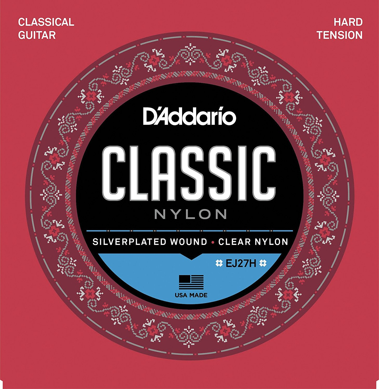 D'Addario EJ27H / EJ27N Student Nylon Classical Guitar Strings, Hard/Normal Tension savarez 500arh classical corum standard tension set 024 042 classical guitar string