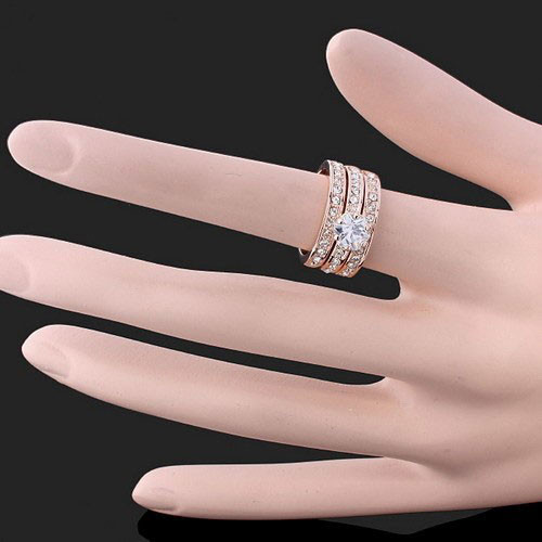 NIUYITID Свадебные кольца высокого качества золото цвета пара Bague для женская бижутерия Mujer Циркон Joias кольцо 01086