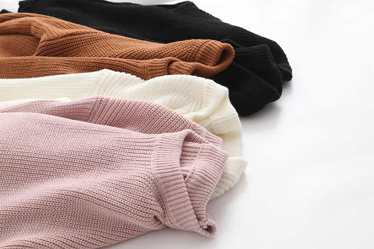Fdfklak Autumn Winter Warm Sweaters Mujer Knitted Sweater Long Sleeve O-Neck Black/White Women Sweaters And Pullovers Q506