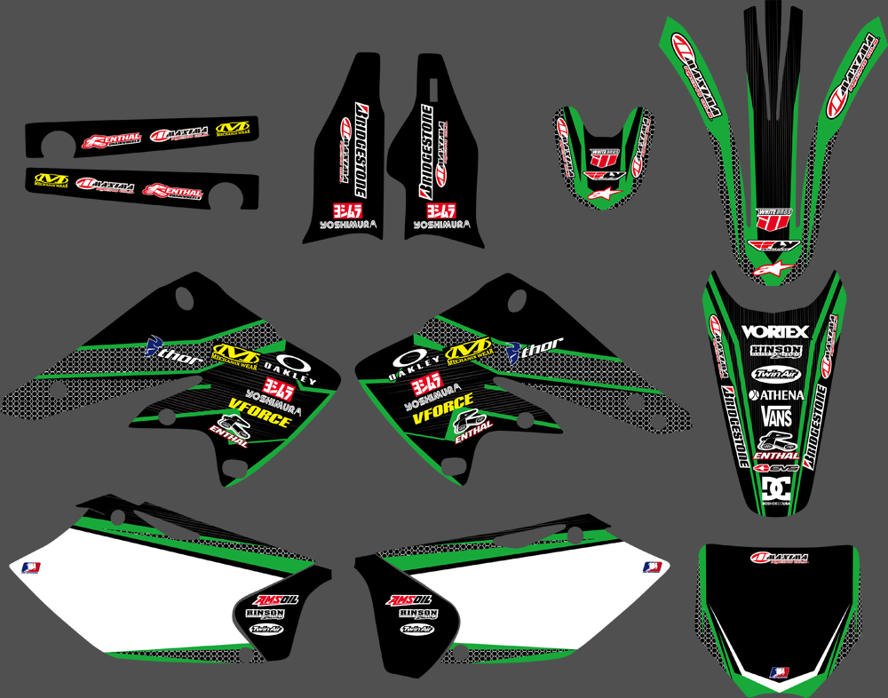 New Style Motorcycle GRAPHICS & BACKGROUNDS DECALS STICKERS Kits For Kawasaki KX250F KXF250 2004 2005 KXF 250 KX 250F