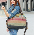 new hit color canvas bag ladies shoulder bag Messenger bag wild striped handbag