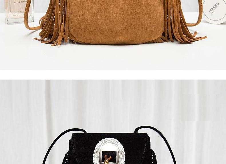 Hippie Suede Fringe Tassel Messenger Bag Women Hobo Shoulder Bags Crossbody Handbag (15)