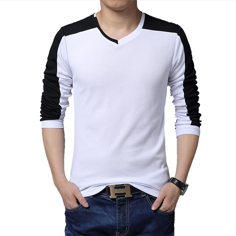 patchwork casual tee shirt men v neck t shirt men slim fit male t ...