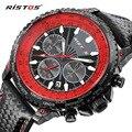 Ristos Mens Watches Top Brand Luxury 6 hands Function Chronograph Watch Military Men's Canvas Genuine Leather Quartz Wrist Watch
