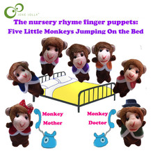 7Pcs Monkeys Finger Puppets English Song Five Little Monkeys Jumping On The Bed Finger Puppets Toys for Baby GYH(China)