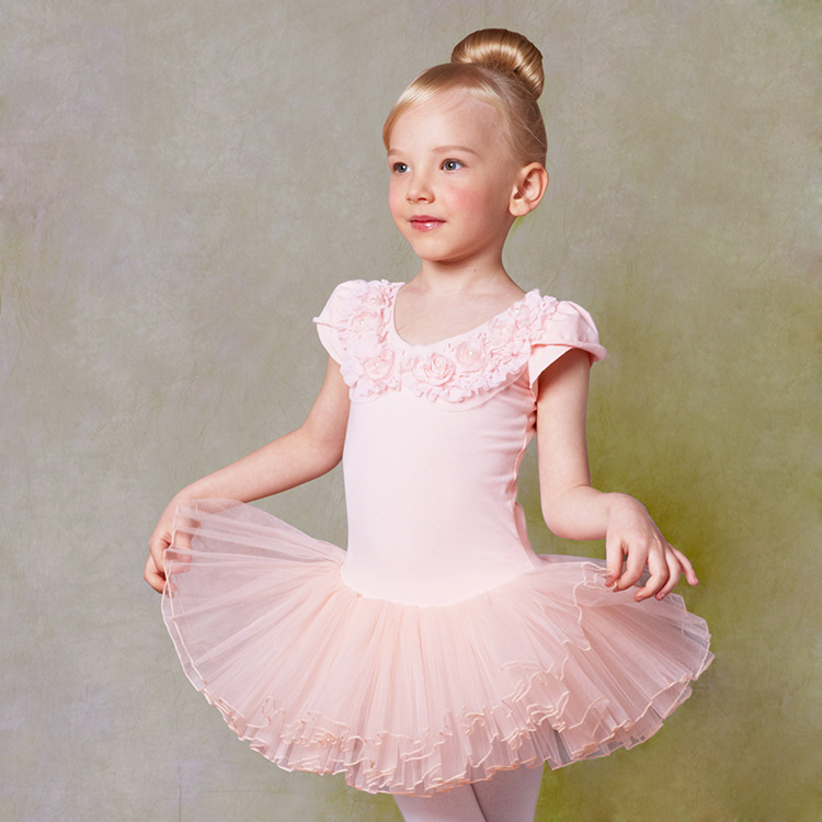 Pink Girls Todders Leotard Tutus Ballerina Dress Cute short sleeved Dance Costume Ballet Clothes Children 2-9 years