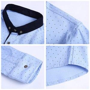 Image 5 - COODRONY marka koszula męska jesień nowy nabytek z długim rękawem bawełniana koszula mężczyźni Streetwear moda Dot mały kołnierzyk koszule na co dzień 96020