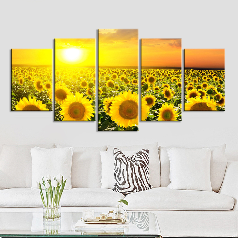 No Frame Wall Pictures for Living Room 5 Pieces Sunflower Oil Art Canvas Painting  Modern Printed Paintings Wall  Art Picture