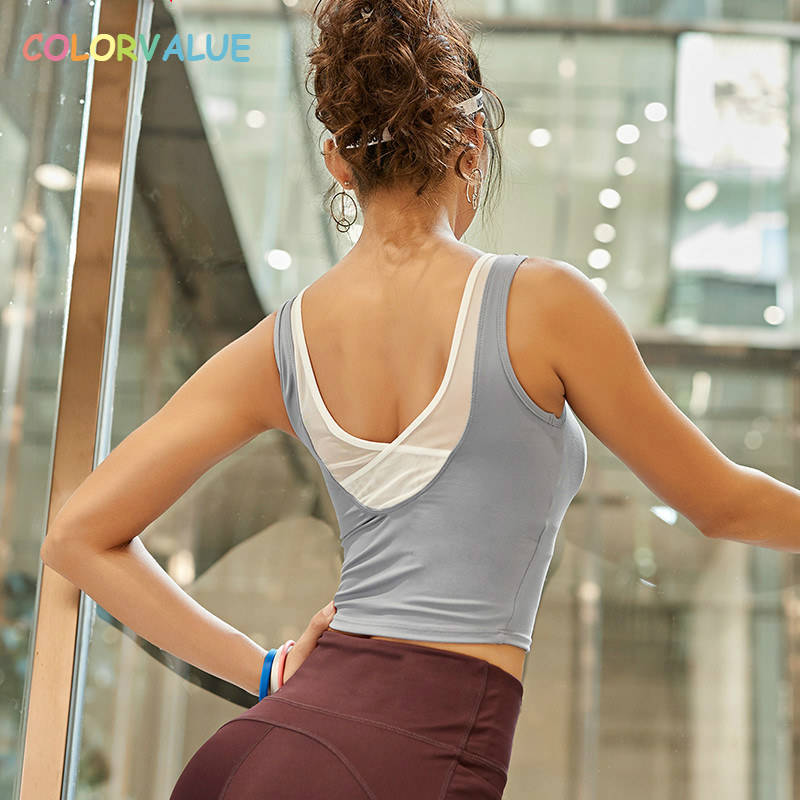 Colorvalue Back Mesh Patchwork Gym font b Fitness b font Crop Tops Women Quick Dry Nylon