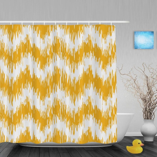 Abstract Zigzag Pattern Bathroom Shower Curtain Yellow Color Faux Tribal Waterproof Polyester Fabric With
