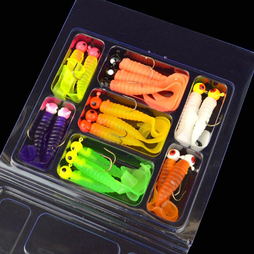 world-wind # 3001 17Pcs Soft Worm Lure Lure Set Head Jig Hooks Fishing Baits Set Tackle
