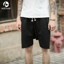 HZIJUE S-XL mens fashion summer 2017 justin bieber clothing drop crotch sweat jogger black/grey/khaki shorts