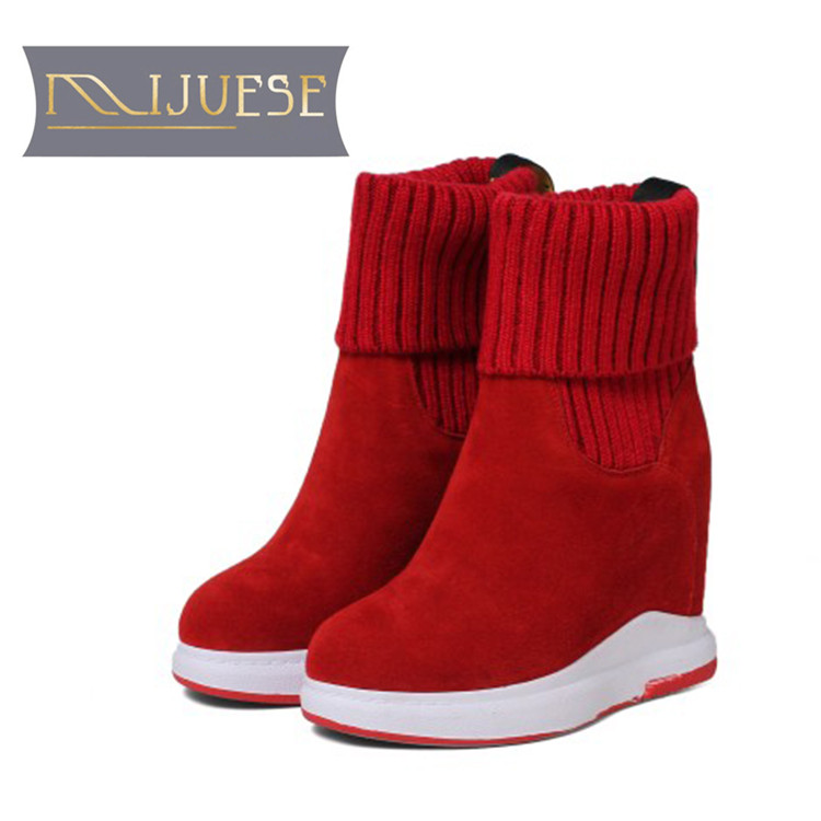 MLJUESE 2019 women Mid calf boots Cow Suede Knitting slip on wool fur warm winter platform wedges short plush women snow boots lady short boots tassel fur warm winter wedges snow women boots shoes genuinei mitation casual knitting snow shoes z244