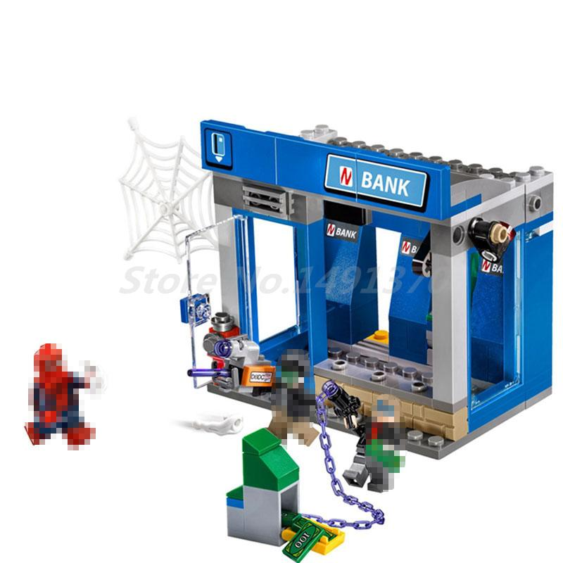 Lepin 07089 204pcs Building Blocks Bricks Marvel Super Heroes Spiderman The ATM Thief Battle Set Children Educational Toys Gift compatible with lego marvel lepin 38005 328pcs super heroes movie iron man ironman mech building blocks bricks toys for children
