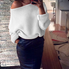 Cotton Sweater Women Winter Sexy Loose One Shoulder Clothes Solid Pullover Jumper For Female Causal Autumn Women Sweater 2018