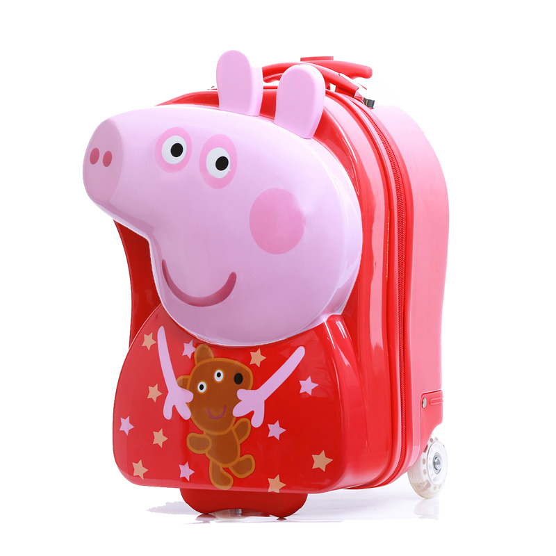 Cartoon wheeled luggage+backpack 3D Pig Peggy children suitcase/ABS PC travel trolley suitcase/kid luggage