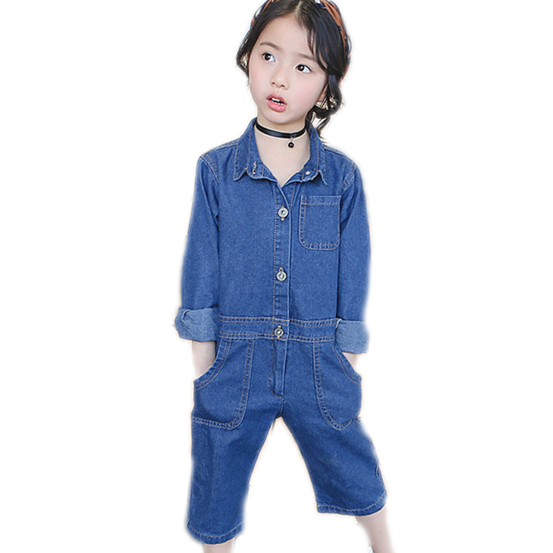 baby girls rompers 2017 new spring autumn long sleeve kids jumpsuit trouser blue and black children denim romper for girls warm thicken baby rompers long sleeve organic cotton autumn