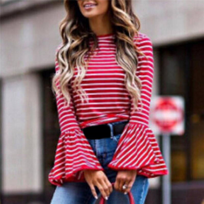 Women Vintage White And Red Striped Shirt T Shirt Women Cotton Blend Tops Retro Flare Sleeve Femininas Blusas