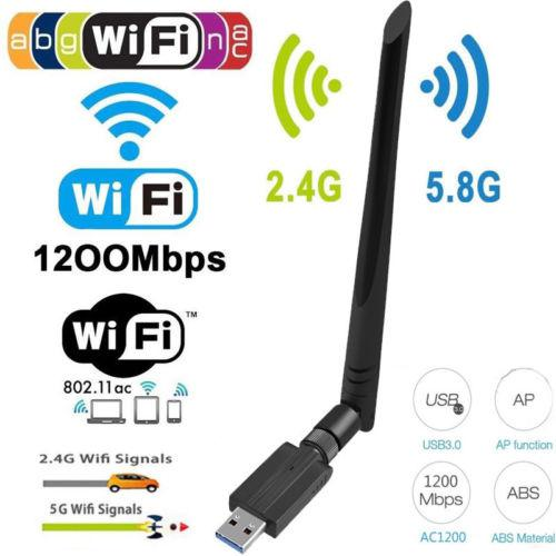 1200Mbps Long Range AC1200 Dual Band 5.8G/2.4G Wireless USB 3.0 WiFi Adapter Antennas