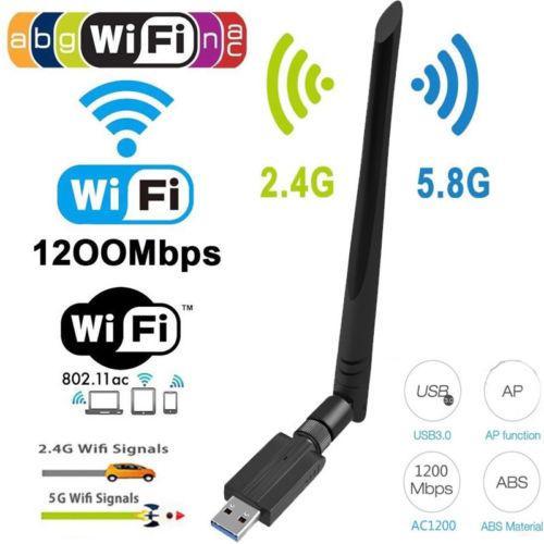 1200Mbps Long Range AC1200 Dual Band 5.8G/2.4G Wireless USB 3.0 WiFi Adapter Antennas
