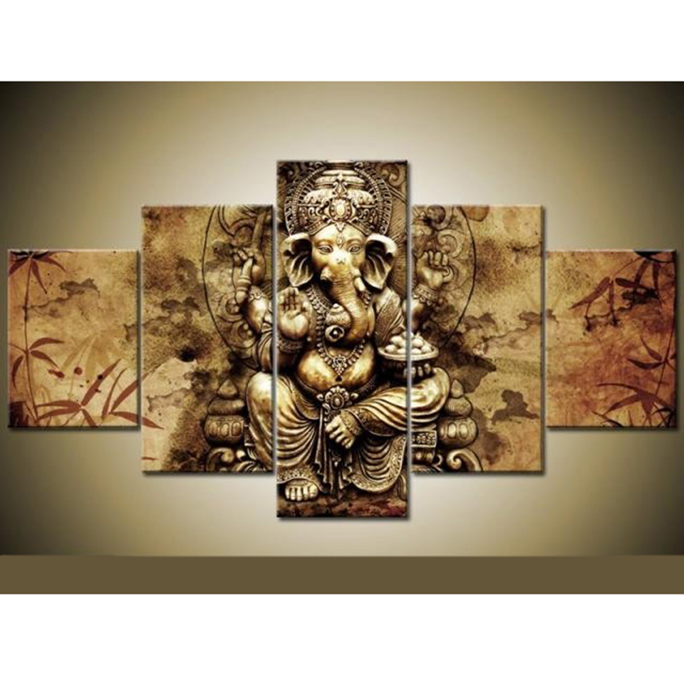 Frame Art HD Printed Canvas Poster Home Decoration 5 Panel Ganesha ...