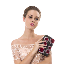Women Evening Bag Vintage Embroidery 3DFlower Rose Rhinestones (3 colors)