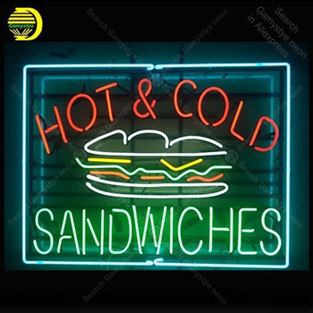 Star neon Factory Hot and Cold Sandwiches Metal Frame Neon Sign Handicraft Store Real Glass Tube Bar room Accesaries neon light