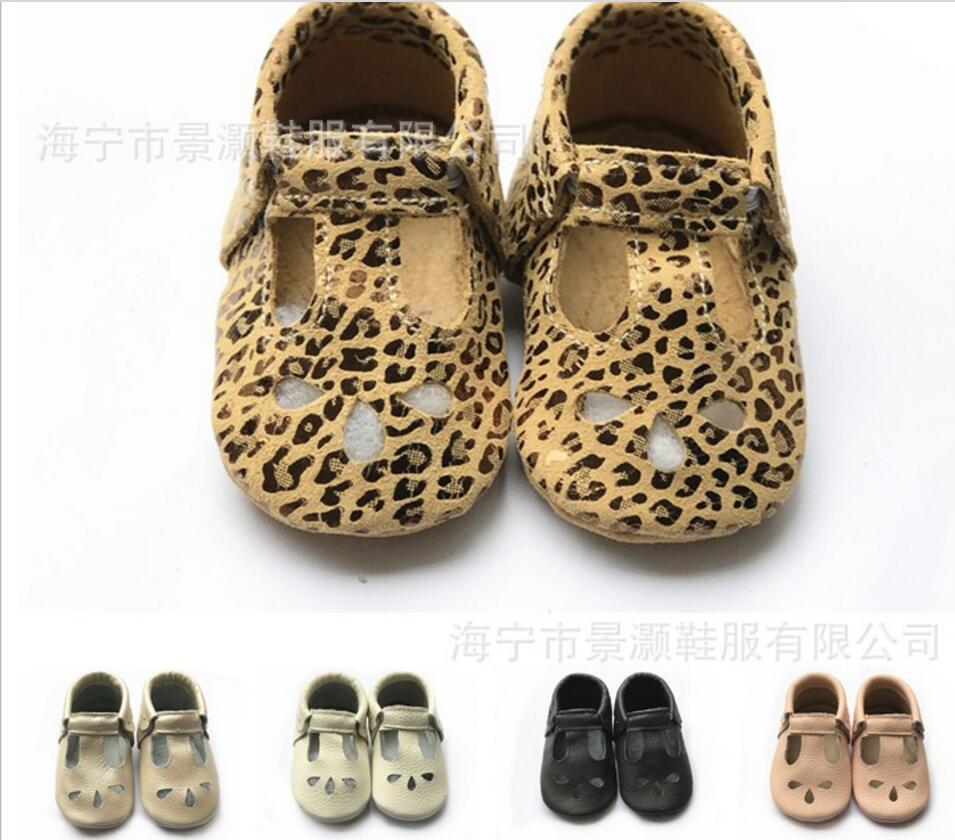 2019 New 100 Genuine Leather Leopard Print Baby Moccasins