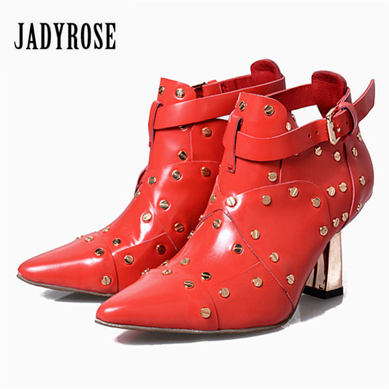 Jady Rose Rivets Studded Red Genuine Leather Women Ankle Boots Pointed Toe High Heels Women Pumps Wedding Shoes Valentine Shoe