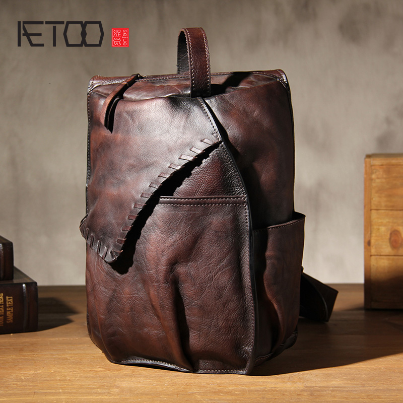 AETOO Men's leather chest bag, planted cowhide retro do old hand-held stiletto bag image