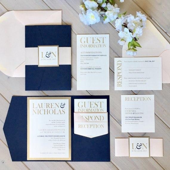 CA0903 Komplett Montiert Pocketfold Hochzeit Einladungen Weiß und Blau Einladungen Tasche Einladungen Moderne Hochzeit Einladungen-in Karten & Einladungen aus Heim und Garten bei  Gruppe 2