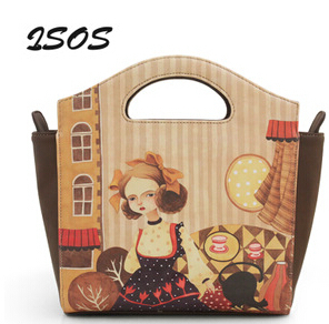 ENSSO Cartoon Girl Mori Stripe Princess Fairy Tale Leather PU Lady Women's Handbag Shoulder Messenger Crossbody Bag Tote Trapeze