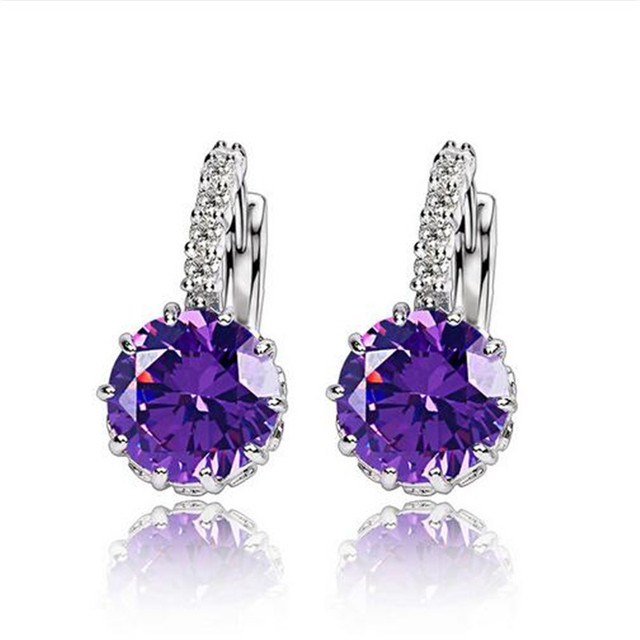 Women Earrings Genuine 925 Sterling Silver AAA Cubic Zirconia 1