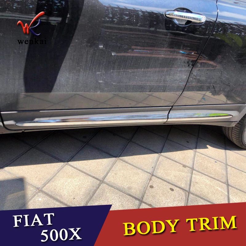 WENKAI ABS Chrome Door Body Molding Fit For Fiat 500X 2015 2016 2017 2018 Accessories Side Strips Trim Cover