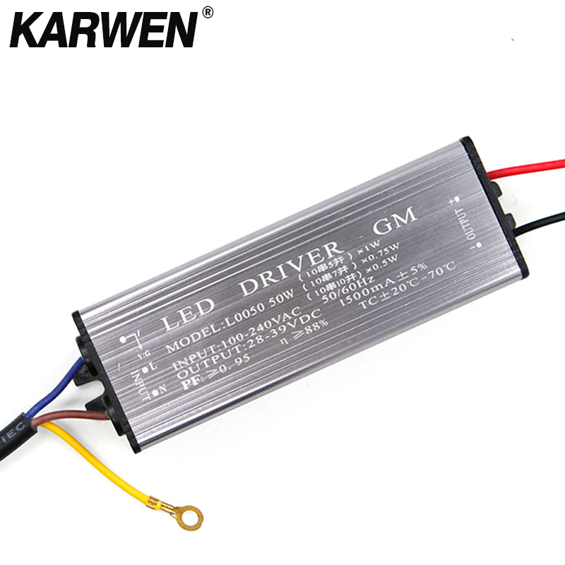 NEW LED Drive 10W 20W 30W 50W LED Driver Adapter Transformer AC85V-265V To DC22-38V Switch Power Supply IP67 For Floodligh