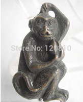 Chinese old tyle collectable copper lock and key monkey statue