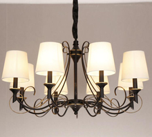 Simple black wrought iron retro European style Pendants and Chandeliers