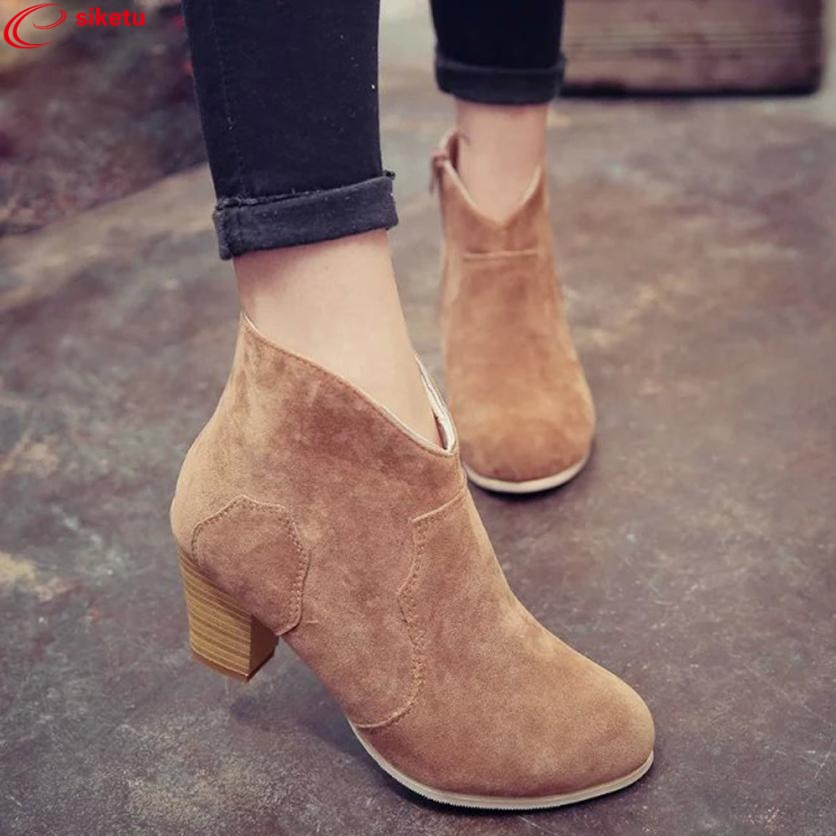 siketu Ladies Women Short Cylinder Boots High Heels Boots Shoes Martin Boots Ankle Boots Best Gift
