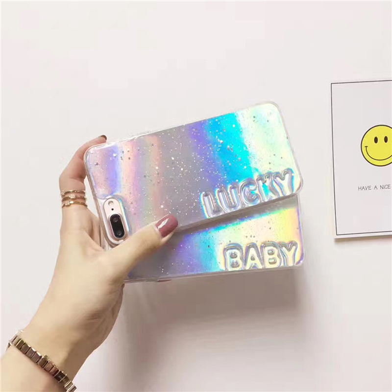 2 In 1 Fashion Summer Cool Flare Star Glitter Laser Discoloration Baby Lucky Letter Tpu Soft Silicone Case For Iphone 8 6s 7plus