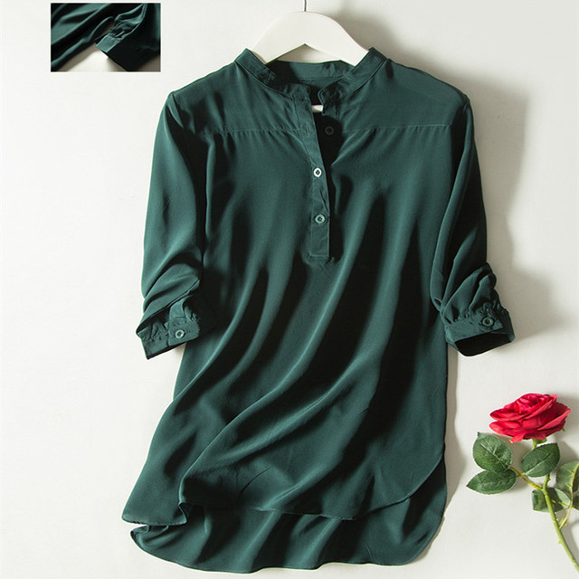 4e752544212dc Quality Pure Silk Shirt Stand Collar 100% Mulberry Silk Top Women Green  Loose Blouses L