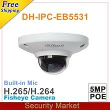 Оригинальная компактная купольная сетевая камера видеонаблюдения dahua с защитой от вандалости и функцией рыбий глаз, IP PoE H265, заменяет модель EB5500, 5 Мп