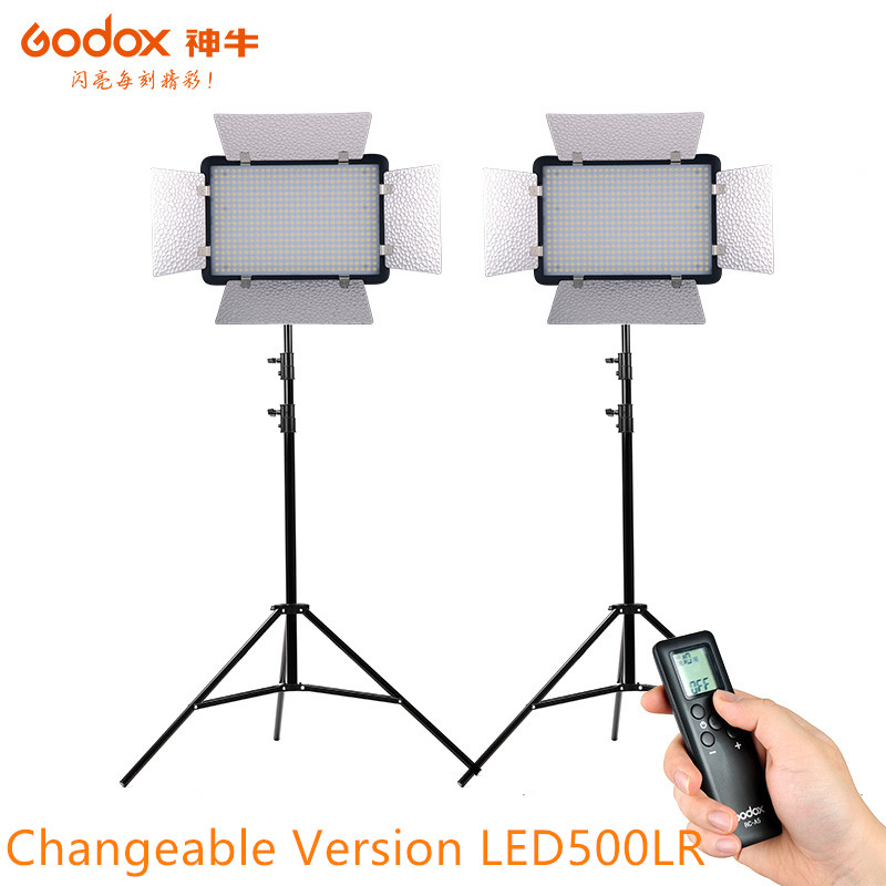 Godox LED500LRC changeable version LED Studio Video Light with white diffuser and Remote Controller for Camera DV Camcorder godox professional led video light led1000c changeable version 3300k 5600k new arrival free shipping