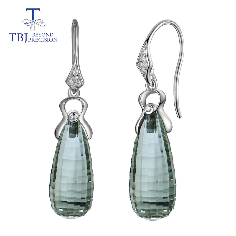 TBJ,green amethyst drops earring prasiolite earrings natural gemstone 9*20mm 925 sterling silver simple luxury jewelry for womenTBJ,green amethyst drops earring prasiolite earrings natural gemstone 9*20mm 925 sterling silver simple luxury jewelry for women
