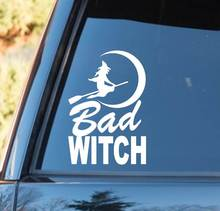 For Bad Witch Moon Broom Decal Sticker Greek Triple Goddess Pagan Wiccan Rear Window Car Sticker triple moon