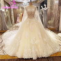 2017 New Luxury Ball Gown Bandage Wedding Dress Scoop Lace Appliques Sequins Bridal Wedding Gowns Vestido De Noiva with Shawl