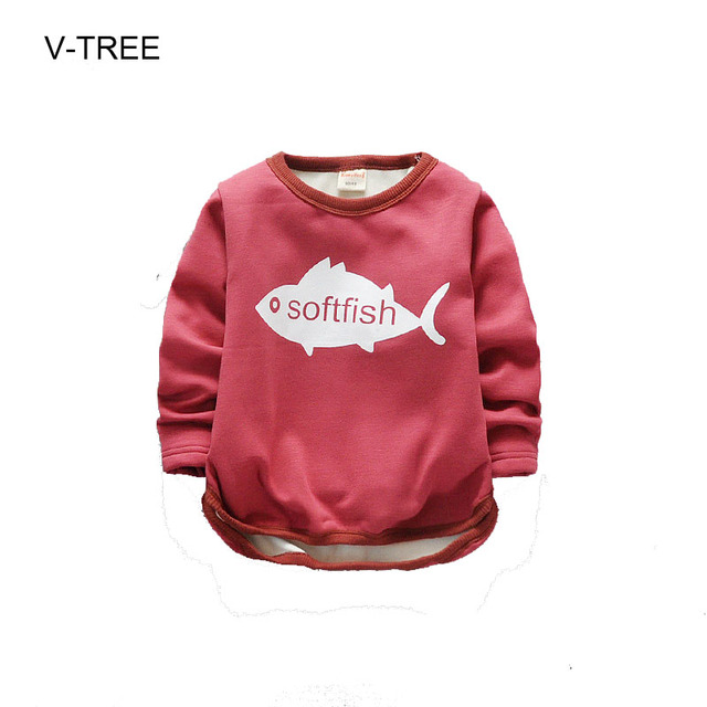 Spring and autumn baby T shirt for boys and girls Baby boys and girls clothes Long sleeve plus velvet children T shirt